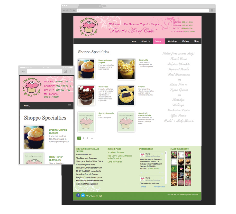 The Gourmet Cupcake Shoppe custom post type archive template