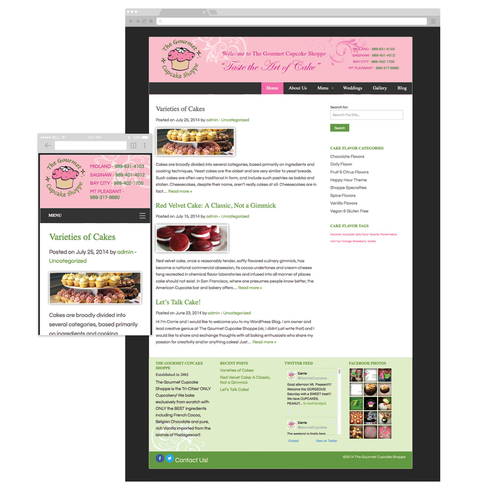 The Gourmet Cupcake Shoppe Blog template image