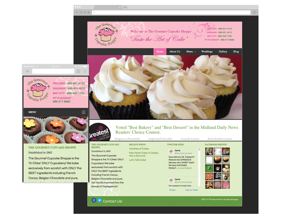 The Gourmet Cupcake Shoppe Home page image