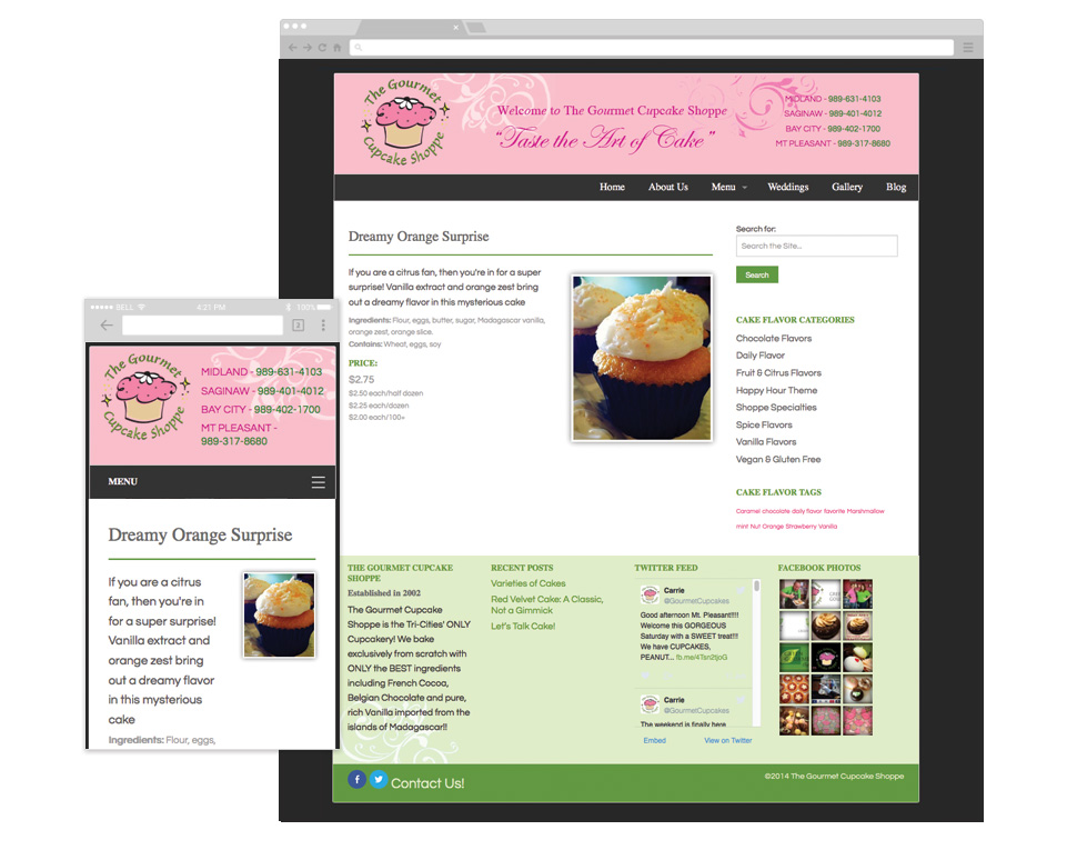 The Gourmet Cupcake Shoppe single custom post type template image